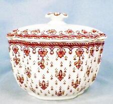 Spode Fleur de Lys Sugar Bowl & Lid Serving Porcelain Oval H IO c1860 England