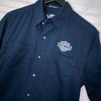 Harley Davidson S/S Button Mechanic Shirt 100% Cotton Black Men's Size S