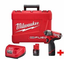"Milwaukee 2454-22 M12 FUEL 3/8"" Impact Wrench Kit NEW 2 Batt +CHG+Case WARRANTY"