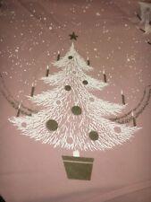 Rare Vintage California Hand Prints Pink Christmas tablecloth screen printed