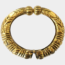 Kenneth Jay Lane Egyptian-Etruscan Revival Etched Golden Bangle
