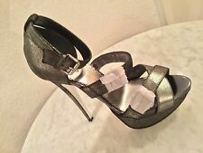 BEBE Gorgeous Pewter Color Leather Strappy Platform Sandal Heels Women's Sz 9 M