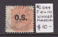 South Australia: 2d Orange Qv Ov/Pr Os Perf 10 X 10 Sg O44 Used Winged Margin