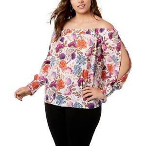 INC Womens Off-The-Shoulder Floral Shirt Blouse Top Plus BHFO 9343