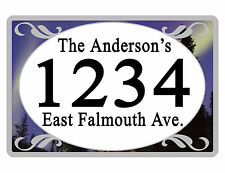 Personalized ADDRESS Sign YOUR NAME Weather Proof Aluminum SIGN FULL COLOR Night