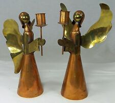 2 Tall Angel Hand Made Candle Holders Copper Brass Retro Christmas Mexico 10""