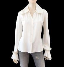 LUCA LUCA Blouse Ivory White Silk Long Poet Sleeve Top 44 US 8