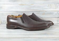 Giorgio Armani Men's Dress Shoes Leather Loafers Brown Made In Italy Casual