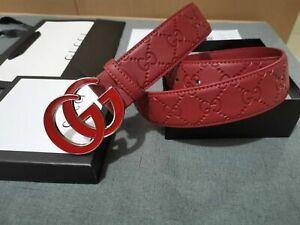 GG GUCCI Leather Vintage Fashion Genuine Leather Belt Size 110cm