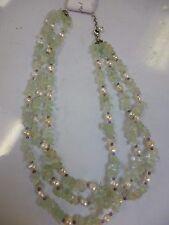 "Beautiful Green Adventurine Quartz and Pearl 3 Strand Necklace  16"""