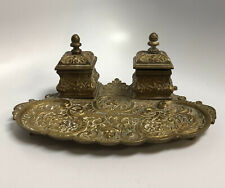 Antique Bronze/Brass Double Inkwell On Tray