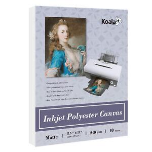 Koala Inkjet Printable Canvas Printer Photo Paper 8.5x11 Matte 240g Waterproof