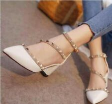 Pointed Studded Shoes (White - Size 40)