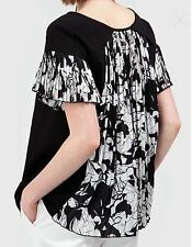NEW PURIFICACION GARCIA BLACK & WHITE SWING TOP WITH PLEATED DETAIL SIZE M