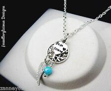 Beautiful Silver Best Friend Tree Of Life Dream Catcher Necklace 50cm