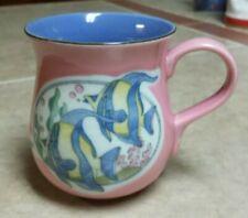 BAHAMAS Coffee Cup Mug pink Outside blue Inside Tropical Angel Fish souvenier EC