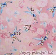 BonEful FABRIC Cotton Quilt Pink TINKERBELL Disney Flower Rose Fairy Sale SCRAP