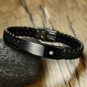 Men Braided Bracelet Bangle Crystal Surfer ID Name Personalized Free Engraving