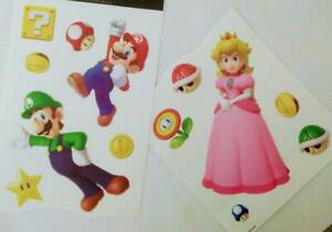 Super Mario Wall Stickers*Set of 13 Vinyl Decals*Clear Background*Kids Room