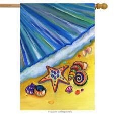 "Beach Shells Nautical Summer House Flag Starfish Ocean Decorative 28"" x 40"""