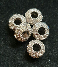 5 CLEAR RHINESTONE SPACER BEADS STYLE # 1
