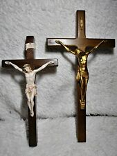 WOODEN WALL CRUCIFIX Cross of Our Lord Plastic Jesus Christ Crucified Vintage