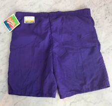 VTG 80s California Splash Purple Nylon Boys XL 18-20 Swim Trunks Bathing Suit