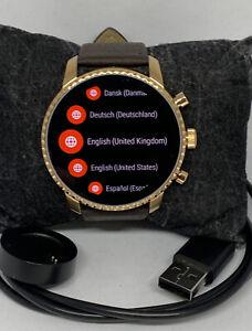 Fossil Explorist HR Gen 4 FTW4017 Men's Brown Leather Digital Dial Smart Watch