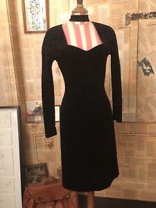vintage 80's sparkle diamond velvet shoulders  black disco party fitted dress