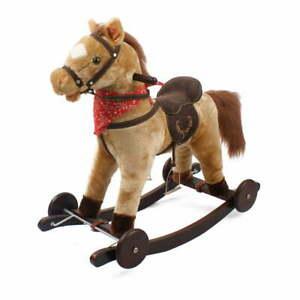 Cavallo a Dondolo Berlin in Peluche e Legno con Ruote e suoni per Bambini