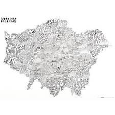 Luckies Word Map Of London Typography Poster Art Print UK Britain Black & White