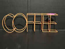 "Neon Wire Words Orange COFFEE 12"" X 4"" Plaque Sign New"