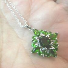 """925 marked Sterling Silver Green Diamond shape Pendant 1"""" Necklace 18"""" NWT"""