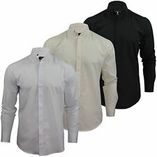 Cotton Single Cuff Formal Shirts for Men Grandad Collar
