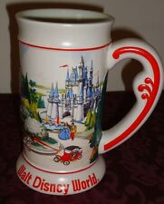 Walt Disney World Magic Kingdom Tall Beer Mug souvenir w/red scroll handle
