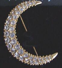 Signed Swarovski Pave' Moon Brooch Pin