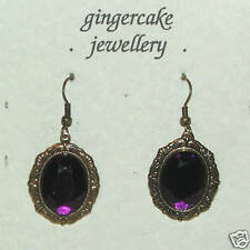 VICTORIAN STYLE DARK GOLD PLATED PURPLE OVAL ACRYLIC CRYSTAL EARRINGS
