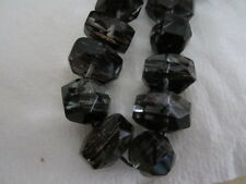Faceted Crystal Black Gold Metallic Sand Quartz Nugget Beads 20mm x 15mm