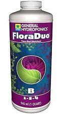 General Hydroponics FloraDuo Part B 1 Quart -gh qt gal flora duo veg fast ship