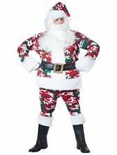 Camo Santa Claus Red Suit Military Camouflage Christmas Adult Mens Costume