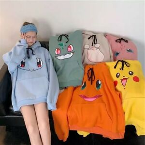 Pokemon Oversized Hooded Sweatshirt Hoodie Pulliver Ears Anime Cartoon Merch Uk