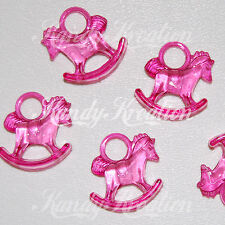20 Pink Rocking Horse Charms Bead for Baby Shower Favors Party Bubblegum Kandi