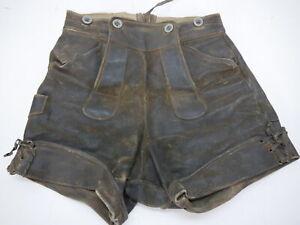 Aus Nachlass von Sammler kurze 60er Vintage stark speckige Lederhose Gr.140