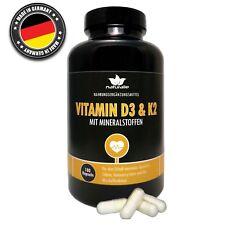 Natürliches Vitamin D3 und K2 MK7, HOCHDOSIERT und vegan mit Mineralstoffen