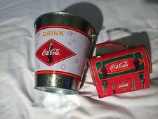 Coca Cola Old Style Tin Metal Lunch Box & Tin Can