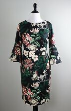 CALVIN KLEIN NWT $134 Stretch Crepe Floral Bell Sleeve Sheath Dress Size 16W