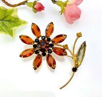 Vintage Large Orange Glass Flower Brooch, 1950s