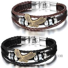 Bronze Eagle Men Women Charm Leather Wrap Wristband Cuf Buckle Bracelet Bangle