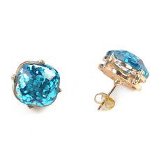 1 Pair Fashion Gold Plated New York Galaxy Sequins Glitter Square Stud Earrings