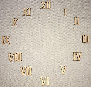 Römische Zahlen 1-12 bzw. 3 6 9 12 verschiedene Größen Holz Basteln Zifferblatt
